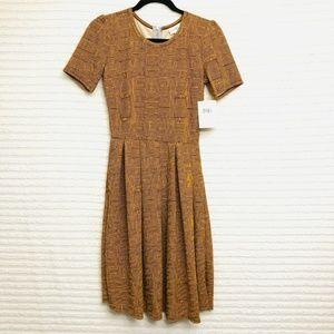 LuLaRoe Amelia Gold Brown Striped Dress Pleated